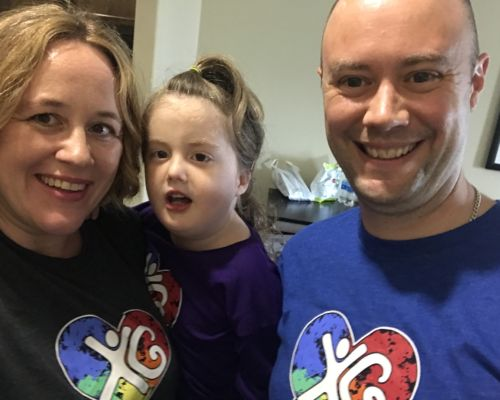 Emily, Greg and Molly Wilkinson wearing their awareness t-shirts at the XGS family conference 2018