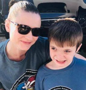 Monica Pendleton with her son Alex, who has Xia-Gibbs Syndrome