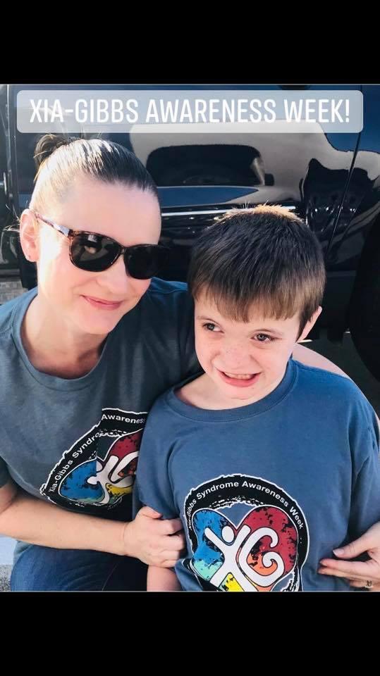 Monica Pendleton, Treasurer and Vice President, and her son Alex who has Xia-Gibbs Syndrome