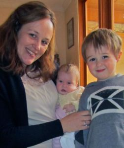 Emily Wilkinson with daughter Molly, who has Xia-Gibbs Syndrome, and son Jack